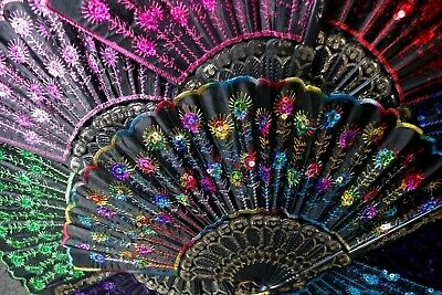 Sequin Burlesque Dance Lace Hand Held Folding Fan Asian Chinese Japan Voile