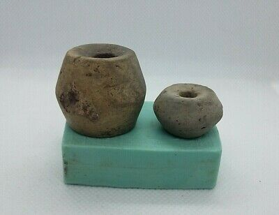 lot of 2 Superb Ancient Spindle Whorl Ceramic Bead Viking period 9-13 AD #3