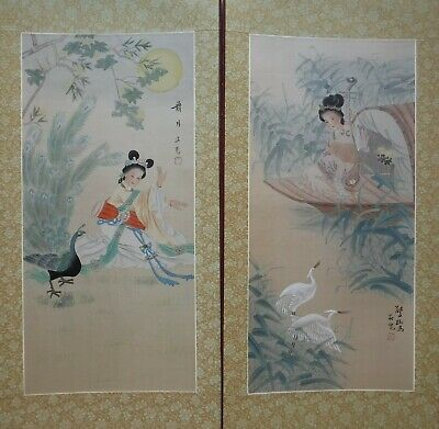 """MG03/04 PAIR musical goddesses Chinese painting on silk 24""""x12""""/19""""x9"""""""