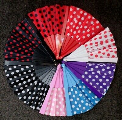 Polka Dot Rockabilly Punk 50s 60s Costume Dance Lace Hand Held Folding Fan Voile