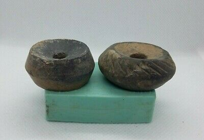 lot of 2 Superb Ancient Spindle Whorl Ceramic Bead Viking period 9-13 AD #4