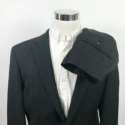 385b376f Hugo Boss Mens 42L Suit Bertolucci Cinema U 35 x 34 Black Pinstripe Colombo  Wool
