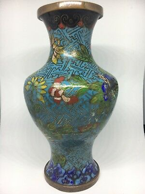 Antique Chinese Copper/Bronze Cloisonne Vase -- Circa 1900, Late Qing Dynasty or