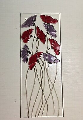 Stained Glass Red Poppy and Purple Floral Handmade Suncatcher