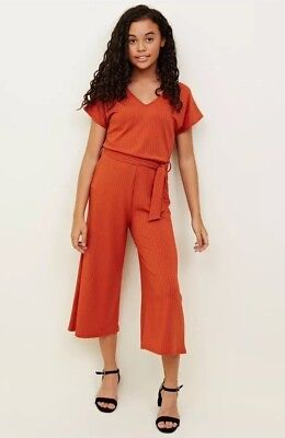 New Look - 915 Girls Orange Ribbed Belted Culotte Jumpsuit - Age 9 Years - BNWT