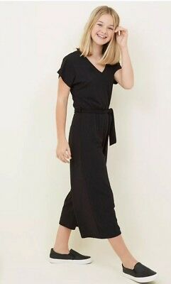 New Look - Girls Black Ribbed Belted Culotte Jumpsuit - Age 9 - BNWT