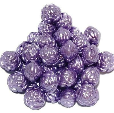 25mm purple pearl round flower chunky bubblegum beads 2, 5 or 10 pieces