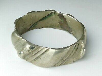 Ancient Viking Bracelet METAL Color Silver Artifact Stunning Rare Type -100 gram
