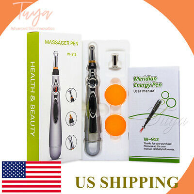 Us Sale Meridian Acupuncture Pen With 5 Massage Head Energy Pain Relief Therapy