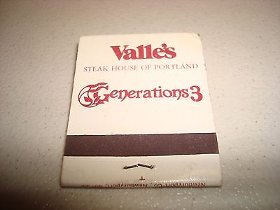 Rare Vintage Matches Valle's Steak House Of Portland Generations 3 USA Original!