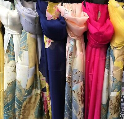 Ladies Lilly Flowers Print Multicolour Scarf Shawl Soft Scarves Women Wrap Stole