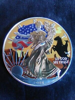 2018 American Silver Eagle Colorized COWBOY 24k Gold Gilded 1oz Coin