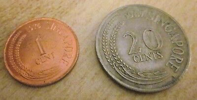 Singapore 1976 1 Cent (XF) & 1967 20 Cents (VF) Coins
