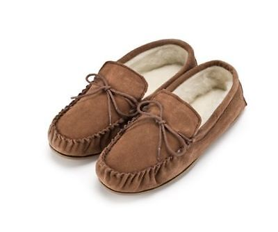 Gents Genuine Suede Moccasin Slippers Hard Sole In Light Brown Sizes 4 To 15