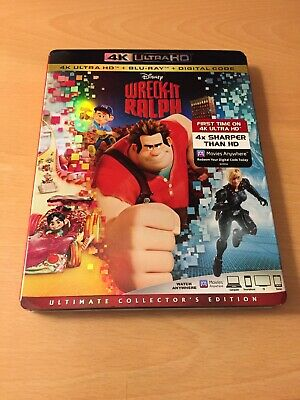 Disney Wreck It Ralph 4K Ultra Hd Blu Ray 2 Disc Set + Slipcover Sleeve Freeship