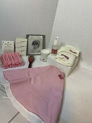 """American Girl """"Hair Care For Your Doll"""" Smock & Curlers, Cleansing Powder &Brush"""