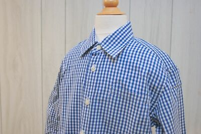 CREWCUTS By J Crew Boys L/Sleeve Button Down Gingham Polo in Blue/White SZ S