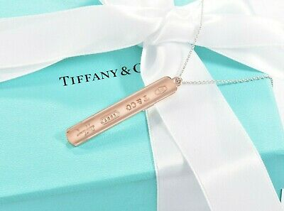 """Tiffany & Co Rubedo Gold Sterling Silver 1837 Bar Pendant XL 20"""" Necklace BOXED"""