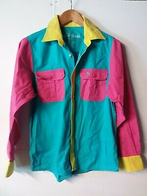 Dust N Boots Pink Blue Yellow Girls Riding Western  Cotton  Shirt  size  10