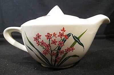 """Mid-century Modern 36 oz """"6 cup"""" Teapot with Red Flowers"""