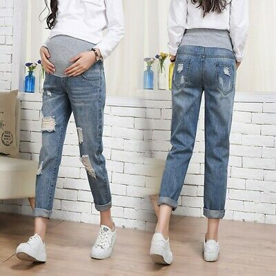 Pregnant Woman Soft Ripped Jeans Maternity Pants Trousers Nursing Prop Belly