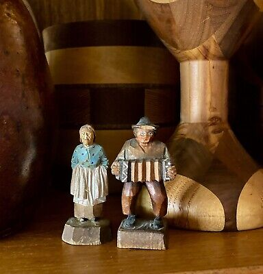 Vintage 2 German BLACK FOREST wood figurines COUPLE ANRI style