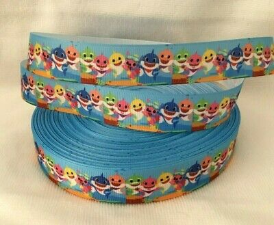 """Baby Shark Grosgrain Ribbon sold by 2m size is 7/8"""" - 22mm wide - Craft- Cake"""