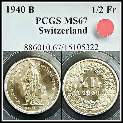 Silver 1940-B Switzerland 1/2 Franc PCGS MS67 Gem BU UNC Uncirculated Swiss Coin