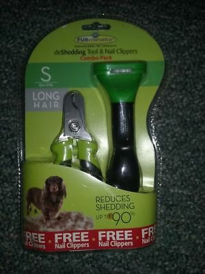 New Furminator Deshedding Tool & Nail Clipper 20 Lb Small Dog Long Hair
