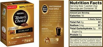 Nescafe Taster's Choice 16 Piece Hazelnut Instant Coffee Beverage Single.