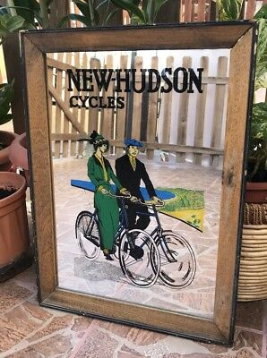 NEW-HUDSON CYCLES VINTAGE ADVERTISING MIRROR BAR PUB Antique Extremely Rare