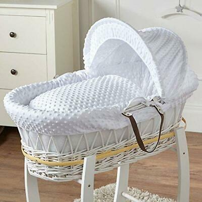 White Dimple Wicker Moses Basket