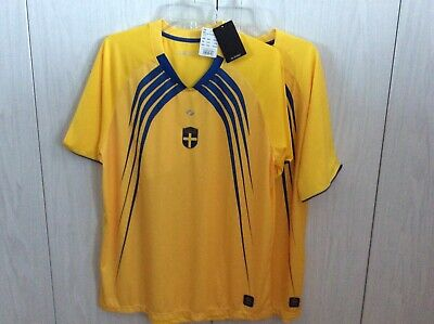 NWT SOC Official Sweden Soccer Jersey Yellow Blue Short Sleeve Unisex L