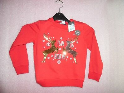 3-4 Years Girls Reversible Sequin Reindeer Christmas Jumper Primark New