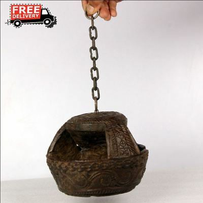 1870'S Antique Engraved Handcrafted Wooden Iron Wall Hanging Oil Diya Lamp 8650