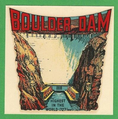 "Vintage Original Goldfarb 1948 Souvenir ""Boulder Dam"" Nevada Travel Decal Art"