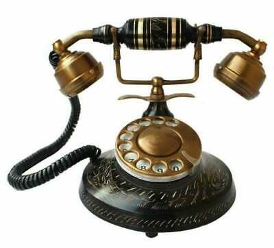 Beautiful Nautical Solid Brass BLACK Rotary Dial Working Telephone