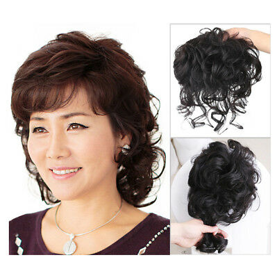 Nature 100% Human Hair Curly Topper Toupee Clip Hairpiece Top Wigs for Women