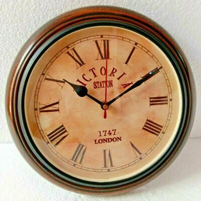 Antique Vintage Wooden 10 inch Wall Clock Victoria Station London 1747
