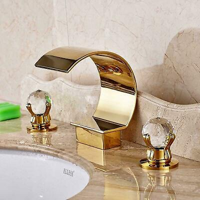 Gold Waterfall Bathroom Faucet Tub Filler Widespread Deck Mounted Sink Mixer Tap