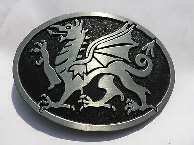 WELSH DRAGON  Metal BELT BUCKLE Black & Pewter Wales Cymru