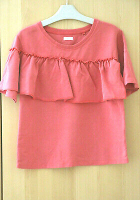 Next Girls Coral Pink Ruffle Top Age 6 Years BNWT