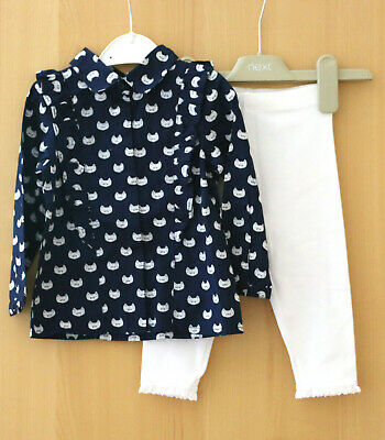Next Baby Girls Navy Blouse Top Age 9-12 Months BNWT