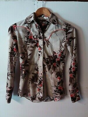 Ladies Girls Vintage Retro Floral Western Style Cowgirl Riding Shiirt  1970s 70s