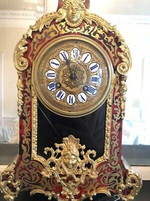 Antique French 19thc Red tortoiseshell and brass ormulu inlay clock
