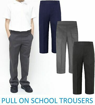 Kids Boys Pull Up Trousers Children School Uniform Half Elasticated Teflon Pants