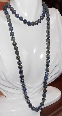 "Individually Knotted 8 mm Blue Lapis Lazuli Stone Strand 32"" Necklace 11c 1"