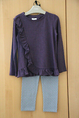 Next Girls Purple Ruffle Top & Spotted Leggings  Age 4 Years BNWT