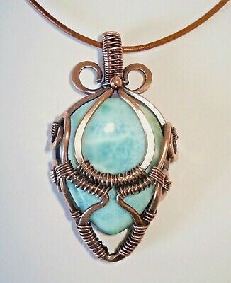 Larimar Pendant Necklace Handmade Wire Wrapped Jewelry Natural Stone