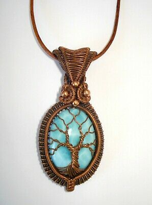 Tree Of Life Pendant Larimar Natural Stone Wire wrapped Jewelry Copper